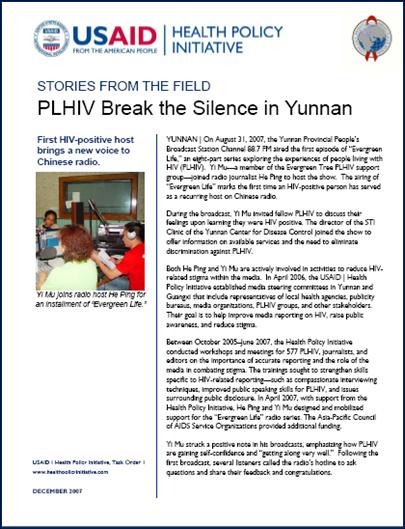 PLHIV Break the Silence in Yunnan (China)