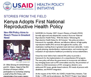 Kenya Adopts First National Reproductive Health Policy