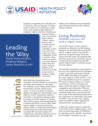 Leading the Way: Health Policy Initiative Mobilizes Religious Leader Response to HIV
