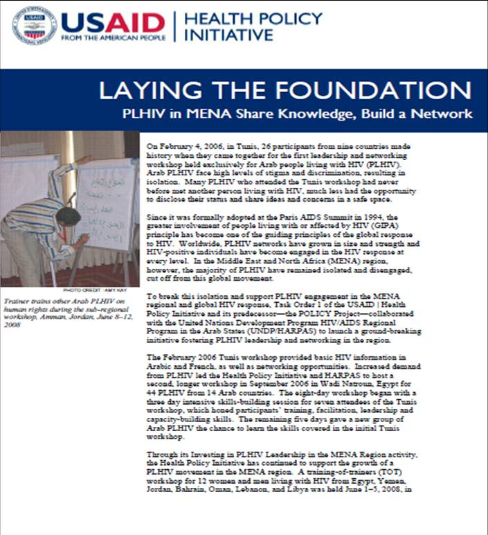 Laying the Foundation: PLHIV in MENA Share Knowledge, Build a Network