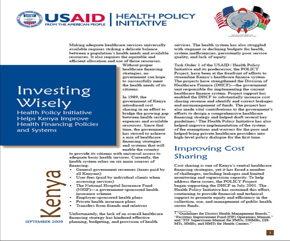 Investing Wisely: Health Policy Initiative Helps Kenya Improve Health Financing Policies and Systems