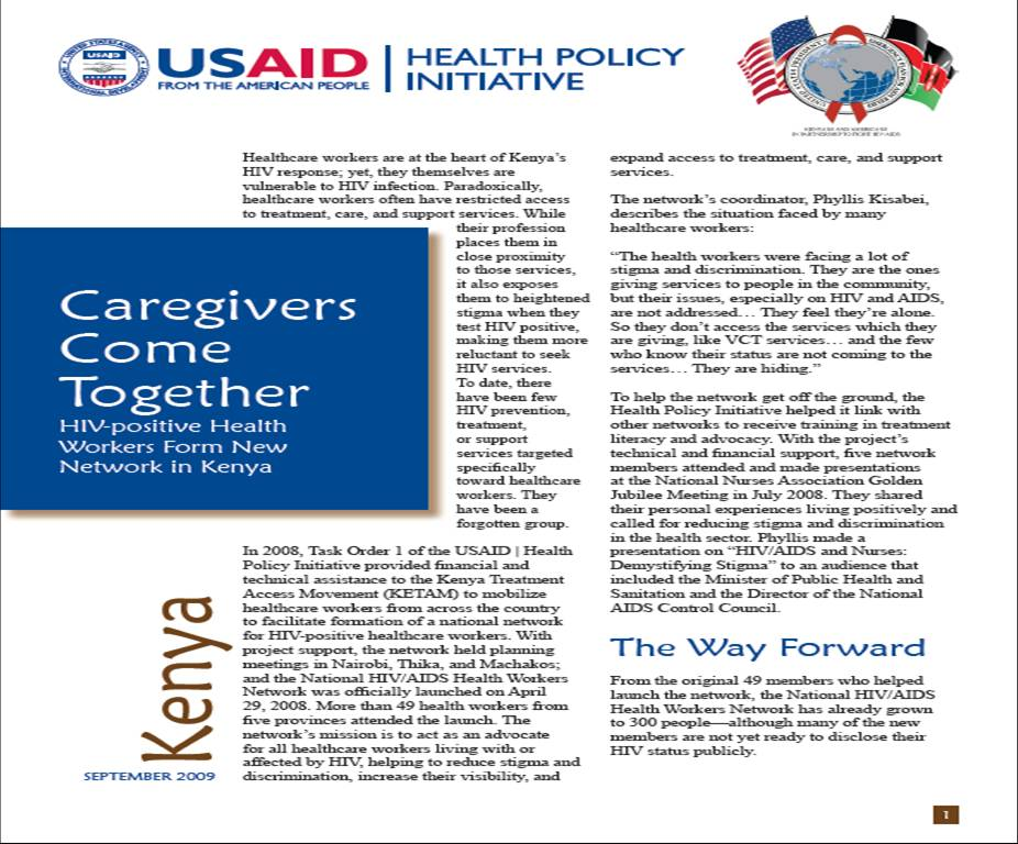 Caregivers Come Together: HIV-positive Health Workers Form New Network in Kenya