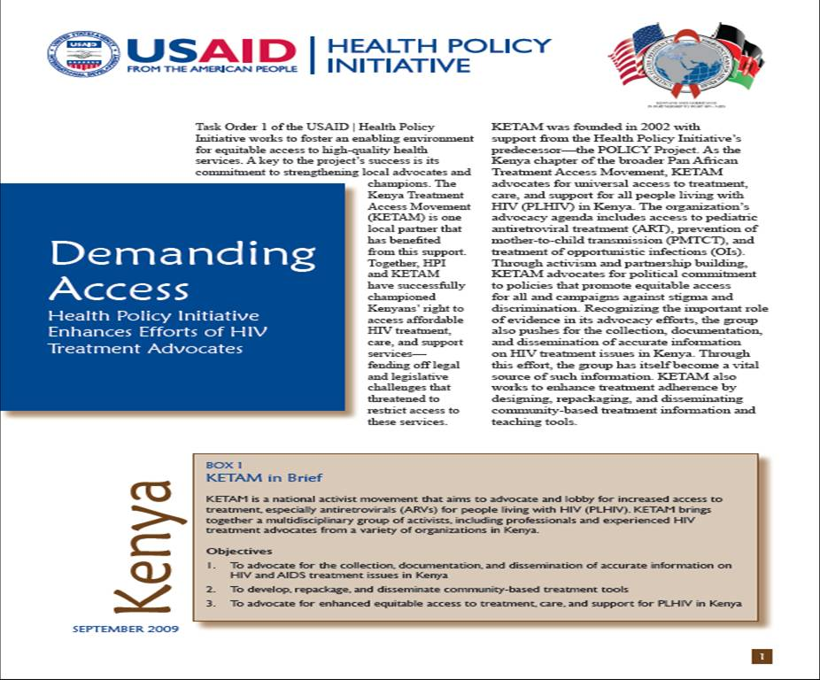 Demanding Access: Health Policy Initiative Enhances Efforts of HIV Treatment Advocates