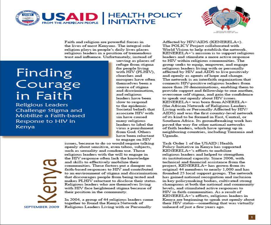 Finding Courage in Faith: Religious Leaders Challenge Stigma and Mobilize a Faith-based Response to HIV in Kenya