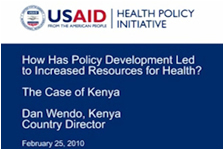 How has Policy Development Led to Increased Resources for Health? The Case for Kenya